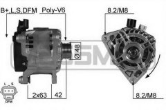 Генератор Focus 1.8, 2.0 -04 (14V 80A) для FORD FOCUS (DAW, DBW) RS 2002-2004, код двигателя HMDA, V см3 1988, кВт 158, л.с. 215, бензин, Era 210196